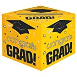 School Colors Graduation Party ''Congrats Grad!'' Card Box Holder, Yellow, Black and White, Paper, 12'' x 12'' x 12''