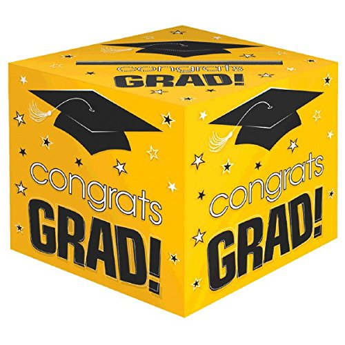 Amscan School Colors Graduation Party Congrats Grad! Card Box Holder, Yellow, Black and White, Paper, 12