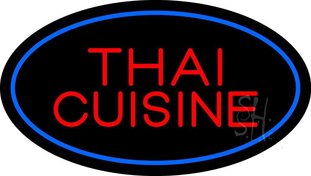 Thai Cuisine Oval Blue Outdoor Neon Sign 17'' Tall x 30'' Wide x 3.5'' Deep
