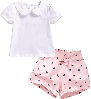 2PCS Set Toddler Kids Baby Girls Outfits Clothes T-Shirt Tops+Shorts Pants