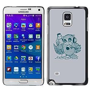 TopCaseStore / la caja del caucho duro de la cubierta de protección de la piel - Abstract Bird - Samsung Galaxy Note 4 SM-N910