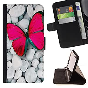 King Air - Premium PU Leather Wallet Case with Card Slots, Cash Compartment and Detachable Wrist Strap FOR Samsung Galaxy A3 a3000- Butterfly Fly Beautiful Colorful