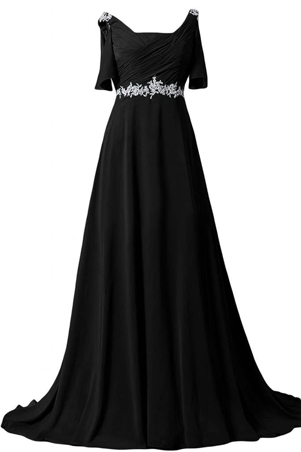 Sunvary A Line Formal Evening Party Dresses Short Sleeves Long Chiffon Prom Gowns