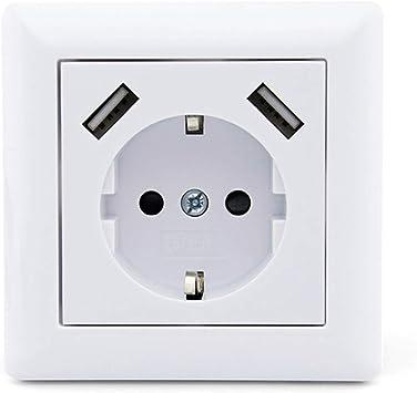 Toma de corriente con USB, color blanco, sistema Schuko 55, enchufe de pared, puerto USB, cargador para smartphone Mp3 (máx. 2,8 A): Amazon.es: Bricolaje y herramientas