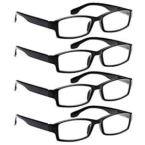 ALTEC VISION 4 Pack Spring Hinge Black Frame Readers Reading Glasses for Men and Women - 2.50x