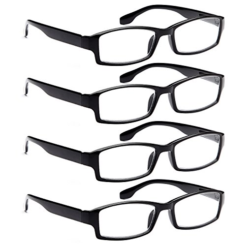 ALTEC VISION 4 Pack Spring Hinge Black Frame Readers Reading Glasses for Men and Women - 2.00x