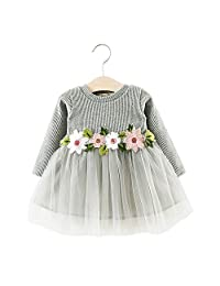 Gosear Toddler Baby Kid Girl Autumn Winter Cute Sweet Flower Long Sleeve Mini Tutu Princess Dress Size 80 For Height 73-80cm