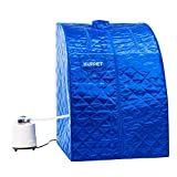 KUPPET Portable Folding Steam Sauna-2L One Person Home Sauna Spa for Full Body Slimming Loss Weight w/Chair, Remote Control, Steam Pot, Foot Rest, Mat (Blue)