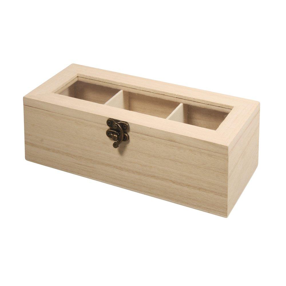 contenitore bustine fai da te 21,5/x 9/x 7/cm in legno FSC 3/scomparti bricolage Rayher 62598000/scatola porta the e tisane