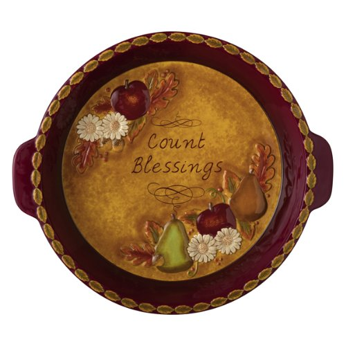 Grasslands Road Home Again Count Blessings Daisy and Bountiful Fruit Pie Plate with Handles (Pie Serving Plate)