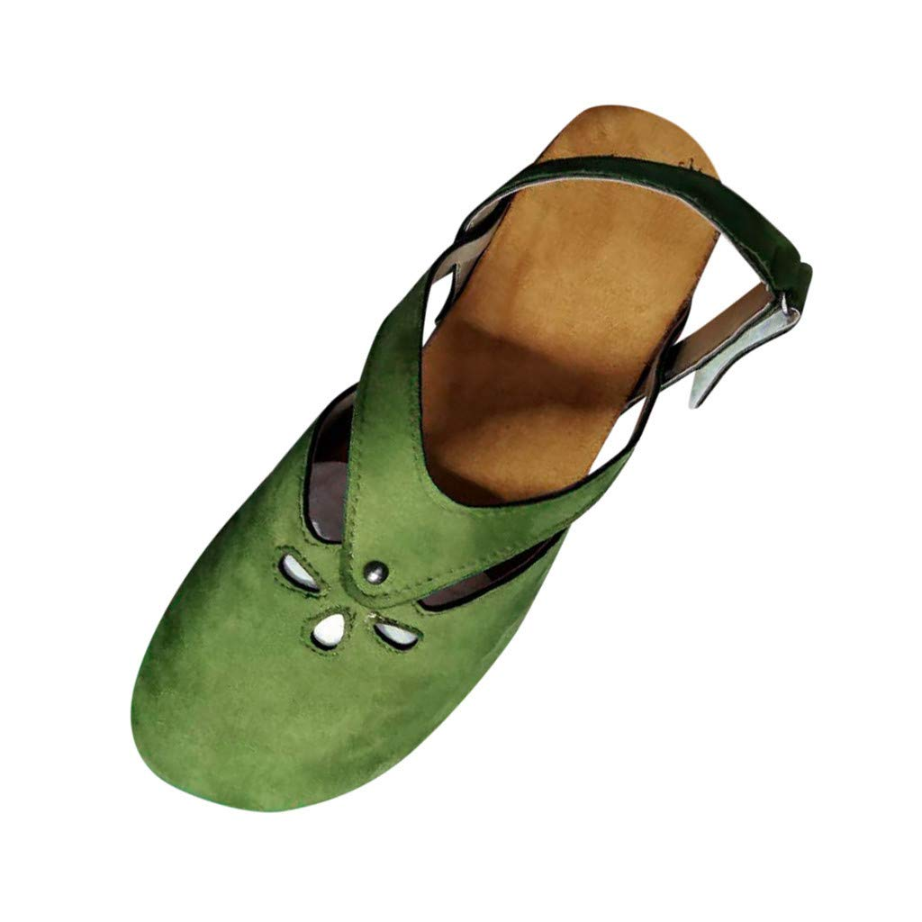 Opinionated Women's Hollow Out Sandals Vintage Hook Loop Handmade Mary Jane Flat Carving Moccasins by Opinionated