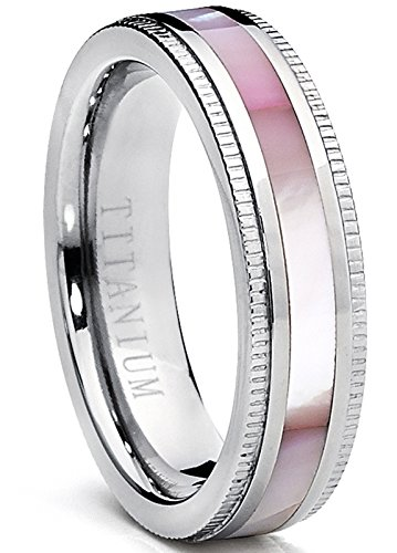 Pink Mother Of Pearl Ring (Titanium Women's Pink Hues Mother of Pearl Inlaid Band Ring, Comfort Fit, 5mm Size 8)