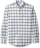 IZOD Men's Oxford Plaid Long Sleeve Shirt, Twilight Blue, Large