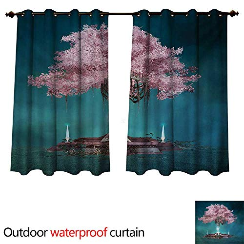 Estrella Outdoor Hanging (WilliamsDecor Magical Home Patio Outdoor Curtain Magical Blossom Plant Hanging in Air Rootless Free Plant Supernatural Image W72 x L72(183cm x 183cm))