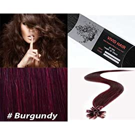 Vivid Hair 25 Strands Straight Pre Bonded U Nail Tip Fusion Remy Human Hair Extensions 22″ Inches # Burgundy