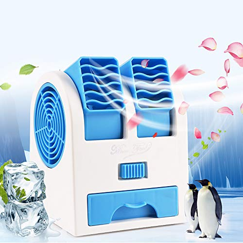 Air Coolers, Portable Personal Space Arctic Air, Mini Air Conditioning 3-in-1 Fan Humidifier Purifier (USB or Battery Powered), for Home/Bedroom/Office/Outdoor (No Noise)(No Sachet)(Blue)