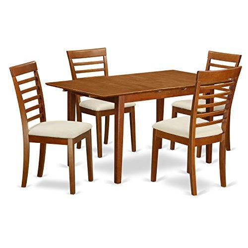 East West Furniture PSML5-SBR-C 5-Piece Dinette Table Set, Saddle Brown Finish