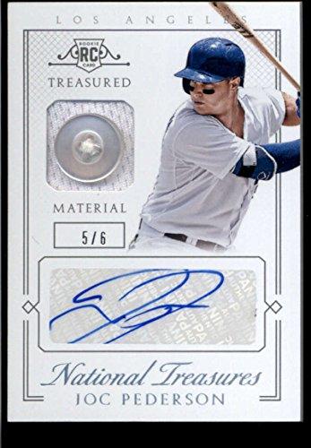 Mlb 6 Button (Joc Pederson 2015 Panini National Treasures Treasure Signature Materials Button #42 Mint Jersey Auto /6 Baseball Dodgers MLB)