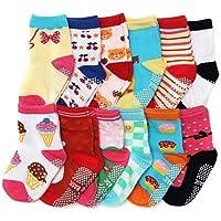 Kit 12 Pares Meia Infantil Antiderrapante 4 a 6 anos / 4-6 Meninas