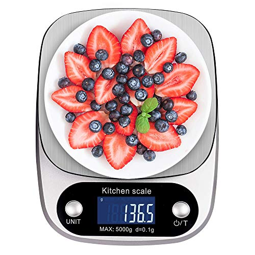Digital Kitchen Scale NEXT-SHINE K305 11lb 5kg x 0.1g Gram Scale with Large Back-lit LCD Display and Tare Function for Cooking, Baking, Diets