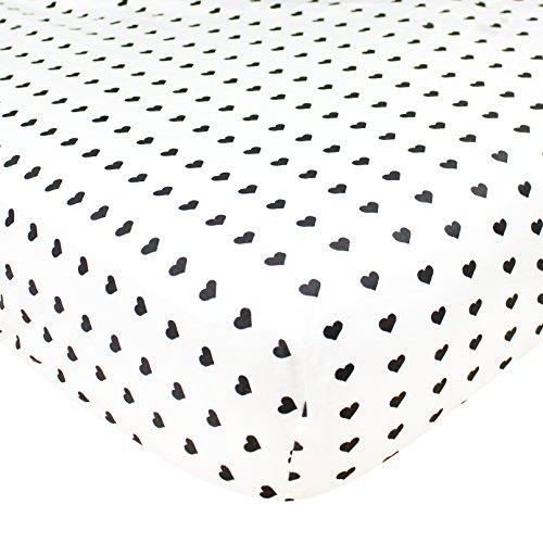 Black Pearl Heart - Premium Fitted Cotton Crib Sheet / Toddler Sheet