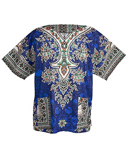 Lofbaz Traditional African Print Unisex Dashiki Ethnic Size S Dark Blue