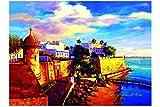 "12""x16"" Canvas Print, of Oil Painting,Puerto Rico,Old San Juan, Original Print, Signed By Painter.El Morro."