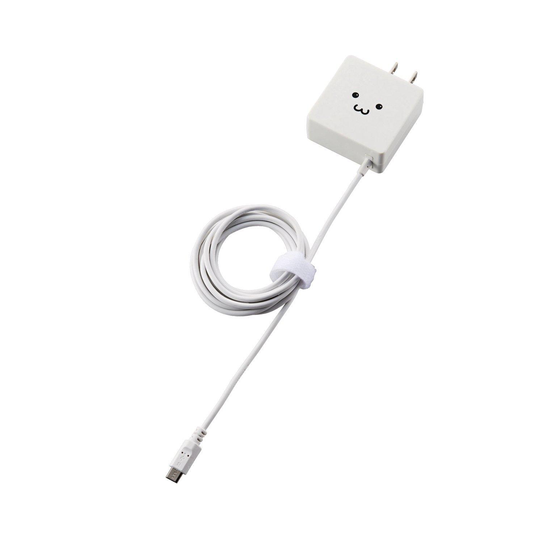 エレコム USB 充電器 ACアダプター コンセント [ スマホ & IQOS & glo 対応 ] microUSB 急速充電器 折畳式プラグ ホワイトフェイス MPA-ACMBC154WF