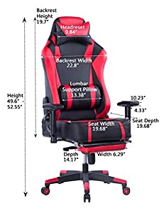 VON Racer Big and Tall Gaming Chair with Footrest- Adjustable Tilt, Back Angle and 2D Arms Ergonomic High Back Racing Leather Executive Computer Chair, Detachable Headrest Lumbar Support, Red by VON RACER
