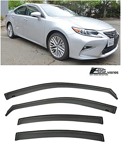 Extreme Online Store Replacement for 2013-Present Lexus ES-Series | EOS Visors in-Channel Style Smoke Tinted JDM Side Window Vents Rain Guard Deflectors ES300H ES350
