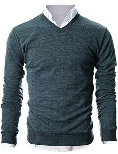 Ohoo Mens Slim Fit Light Weight V-Neck Pullover Sweater/DCP015-CHARCOAL-L