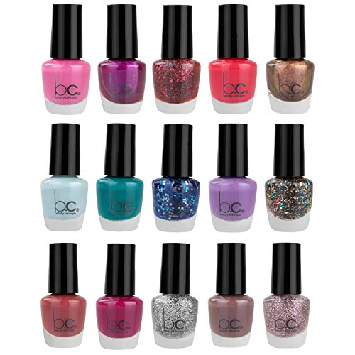 Beauty Concepts Nail Polish Set - Fingernail Polish for Women and Girls, 15 Mini Nail Polish Colors (Glossy and Glitter) by B.C. Beauty Concepts from b.c. Beauty Concepts