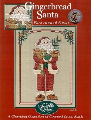 Gingerbread Santa Cross Stitch Chart and Free Embellishment - Embellishments Gingerbread
