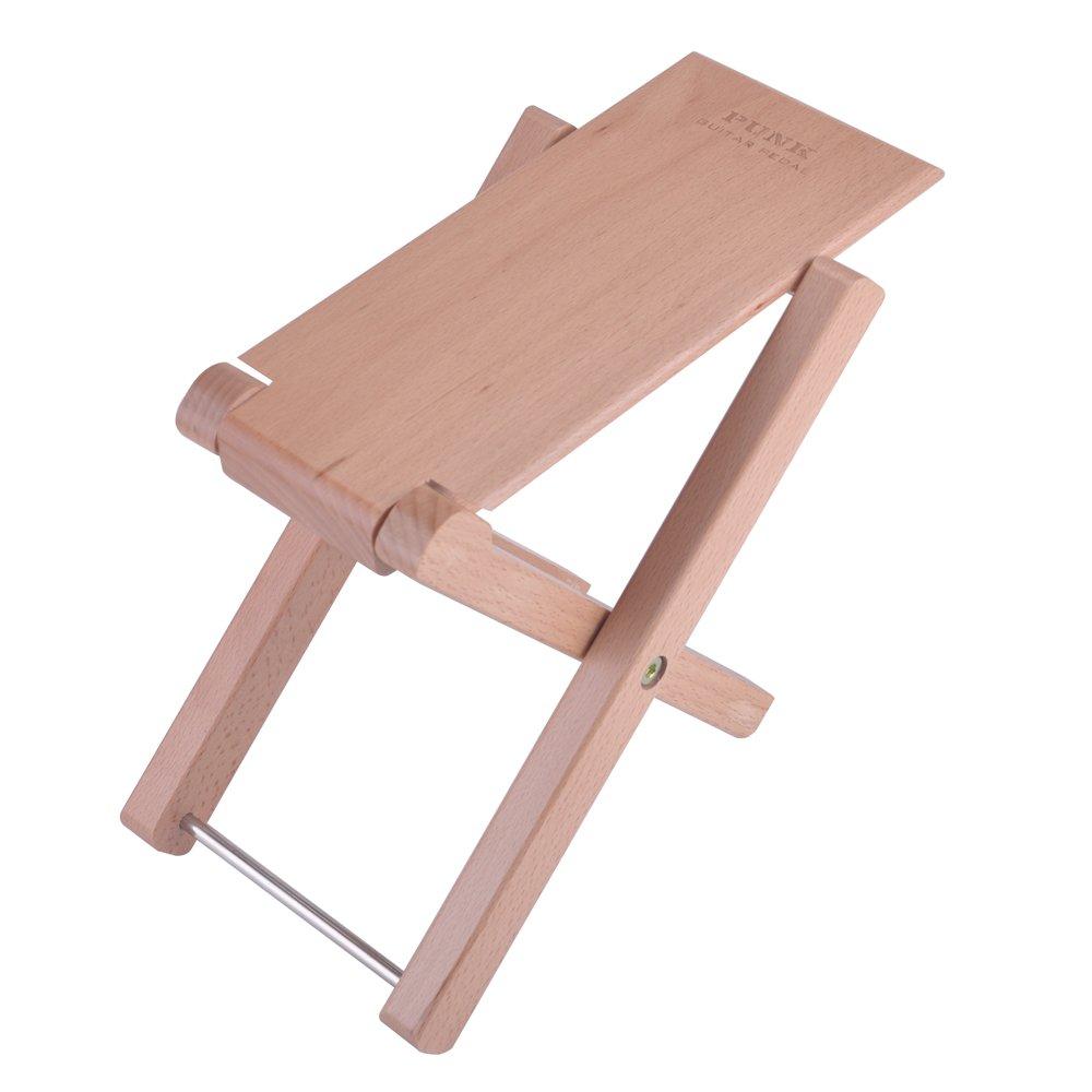 PUNK Solid Beech Wood Guitar Footstool 4 Adjusatble Height Levels