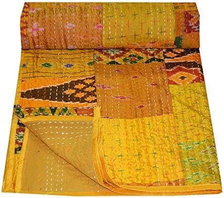 Indian Patola Silk Sari Print Patch Work Kantha Quilt Kantha Blanket Bedspread Patch Kantha Throw Twin Kantha Indian Sari Quilt Size 90X60