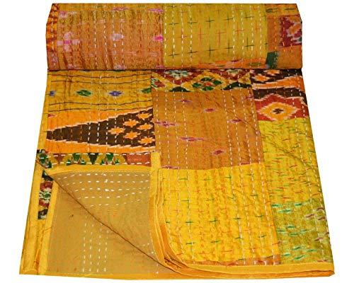 - Crafts Creation Patola Silk Patch Kantha Quilt, Kantha Blanket Bedspread, Patch Kantha Throw, Queen Kantha, Kantha Rallies Indian Sari Quilt, Size 90