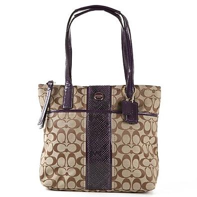 00a7082b4d19 Image Unavailable. Image not available for. Color  Coach 25706 Khaki    Purple Signature Python Stripe Tote Shoulder Bag