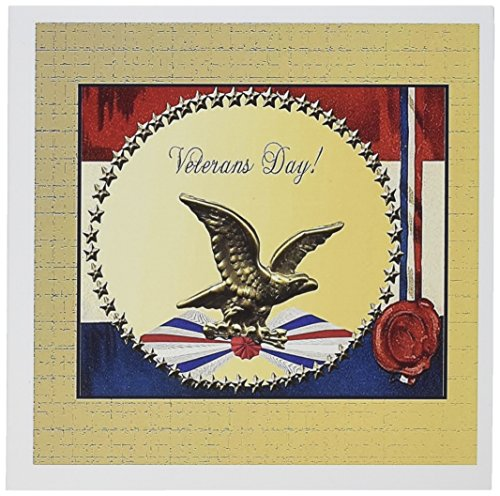 3dRose Veterans Day Bronze Eagle with Gold Stars and Patriotic Banner Greeting Cards, Set of 12 (gc_192599_2)