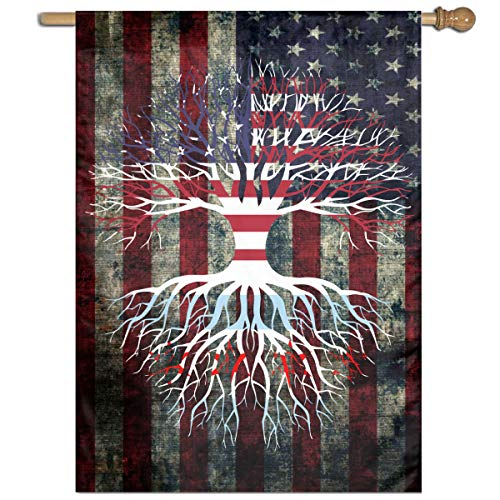 American Grown Chicago Roots Welcome Yard Garden Flag Polyester Banners Patio Seasonal Holiday Family Flag Decorative House Yard Flag Garden Outdoor Decoration 27