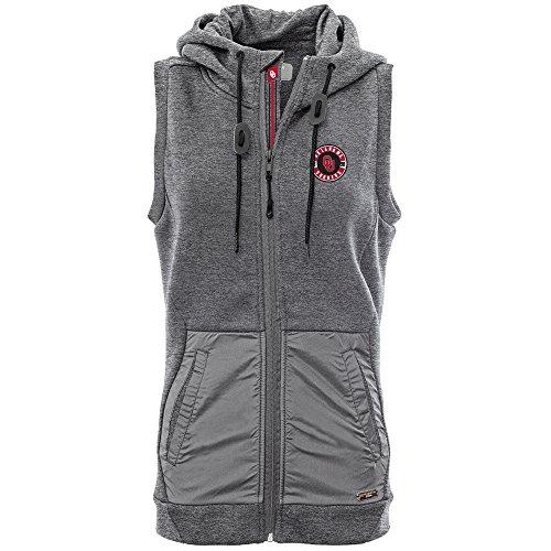 NCAA Oklahoma Sooners Women's Iris Banner Stripe Full Zip Hooded Vest, Medium, Heather Pebble