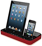 Techno S - IPEGA 2 IN 1 CHARGER SPEAKER DUAL DOCK STATION FOR iPhone 6s, 6, 5s, 5c, 5, 4s, 4 & SMARTPHONES AND TABLETS, iPAD, iPOD, GALAXY (Red)