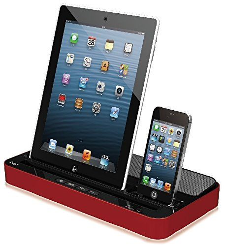 Techno S - IPEGA 2 IN 1 CHARGER SPEAKER DUAL DOCK STATION FOR iPhone 7 7Plus, 6s, 6, 6 Plus, 5s, 5c, 5, 4s, 4 iPad Air/ iPad Air2, iPad2,3,4, iPadmini & SMARTPHONES AND TABLETS, iPOD, GALAXY,(Red)