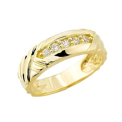 fe0f08771f Men's 14k Yellow Gold-Stone Set Diamond Wedding Ring Band | Amazon.com