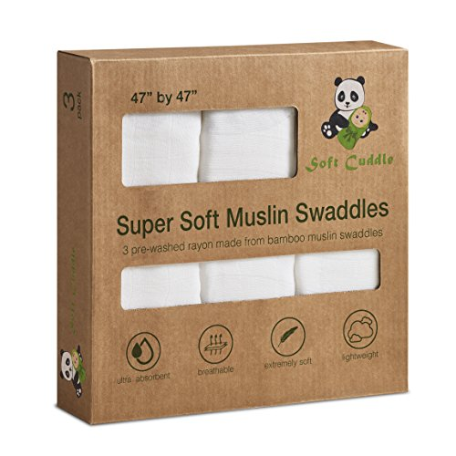 Soft Cuddle 100% Bamboo Muslin Swaddle Blankets | Burp Cloth | Nursing Cover | Changing Pad | Extra Large 47 x 47 inch Ultra Soft Pure White Unbleached Dye Free Unisex for Baby Boy and Girl (3 Pack)