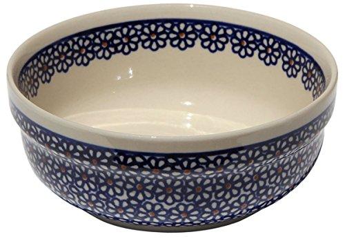 Polish Pottery Bowl 6 Inch From Zaklady Ceramiczne Boleslawiec #833-120 Traditional Pattern, Height: 2.5