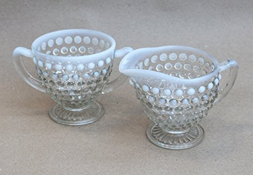 Opalescent Moonstone Hobnail Milk Glass Creamer and Sugar Bowl (Glass Bowl Anchor Hocking Milk)