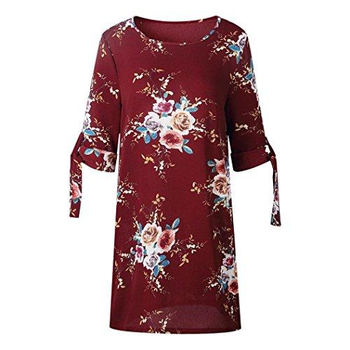 Vin TiaQ Manches Soire Robe Dcontracte Floral Robe Cocktail Bowknot De Imprim Femmes Les Rouge Robe lgantes r7qxv6r0