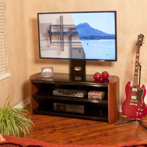 Black Glass & Solid Wood Modern TV Stand with Included Mount