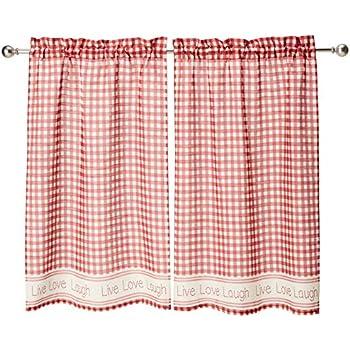 LORRAINE HOME FASHIONS Gingham Stitch Window Curtain Tier Red 50 X 36 00345-36-00148 50 X 36