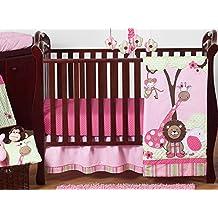 Sweet Jojo Designs 11-Piece Pink and Green Jungle Safari animal themed Baby Girl Bedding Crib Set Without Bumper